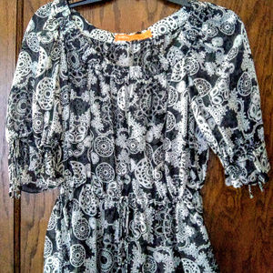 Cynthia Steffe Black and White Floral Sheer Blouse
